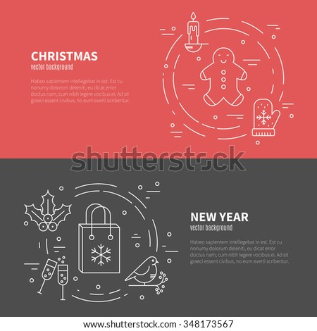 Unique vector concept with different christmas and new year celebration elements. Clean and easy to edit. Modern design element for flyer template, advertisement or commercial add.   - stock vector