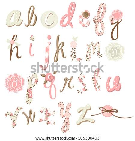 Unique vector flower font. Amazing hand drawn Alphabet. - stock vector