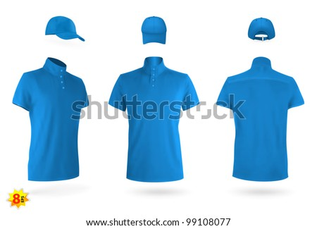 Unisex uniform template set: polo shirt and baseball cap. - stock vector