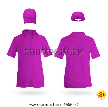 Unisex uniform template set: polo shirt and baseball cap - stock vector