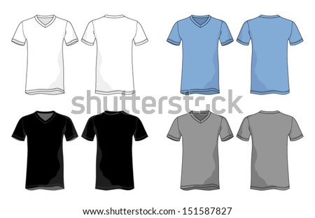 Unisex VNeck Shirt Vector Template - stock vector