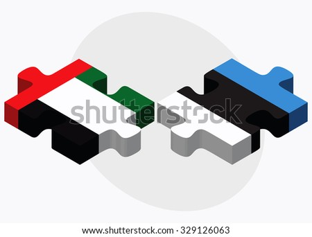 United Arab Emirates and Estonia Flags in puzzle isolated on white background - stock vector