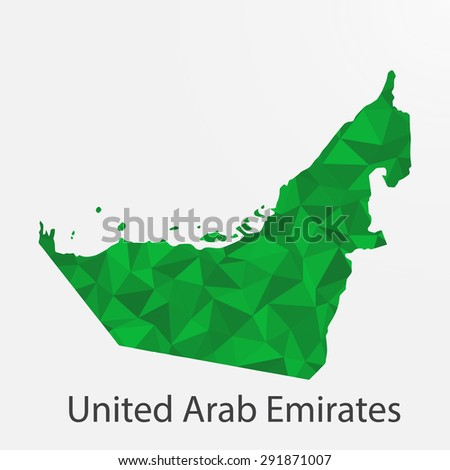 United Arab Emirates flag map in geometric,mosaic polygonal style.Abstract tessellation,background. Vector illustration EPS10 - stock vector