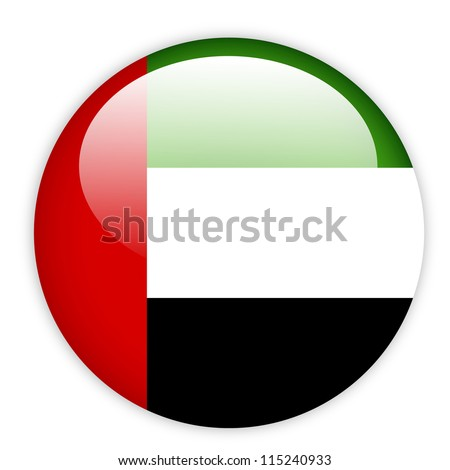 United Arab Emirates flag on button - stock vector