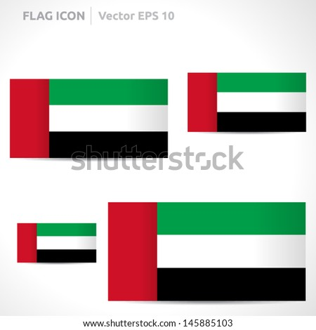 United Arab Emirates flag template   vector symbol design   color red green white and black   icon set - stock vector