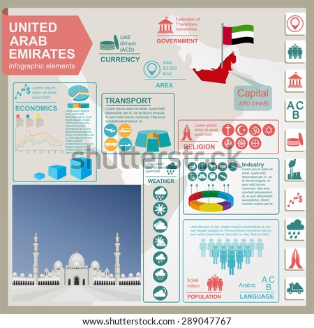 United Arab Emirates  infographics, statistical data, sights. Vector illustration - stock vector