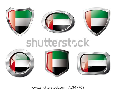 United arab emirates set shiny buttons and shields of flag with metal frame - vector illustration. Isolated abstract object against white background. - stock vector