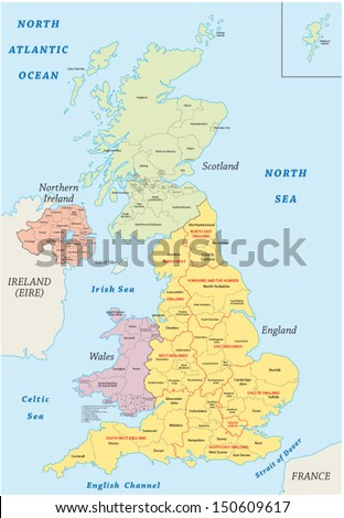 united kingdom administrative map - stock vector