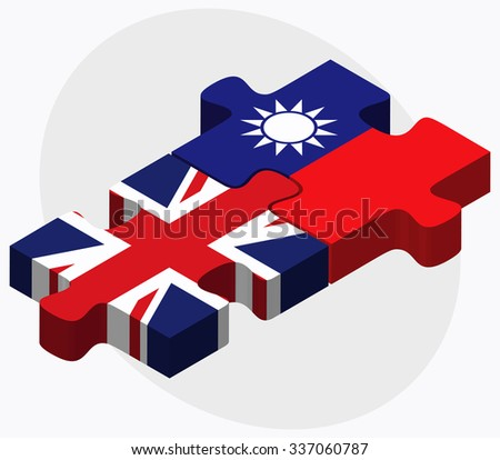 United Kingdom and Taiwan Flags in puzzle isolated on white background - stock vector