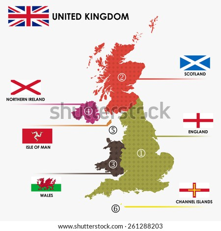 United Kingdom classify by each country map area and flag. (EPS10 art vector separate part by part)  - stock vector