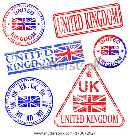 United Kingdom different shaped rubber stamp vectors  - stock vector