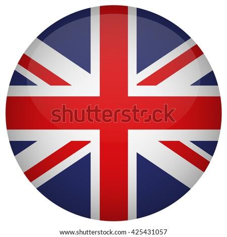 United Kingdom flag button - stock vector