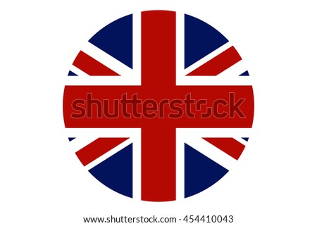 United Kingdom flag round icon. UK flag icon with accurate official color scheme - stock vector