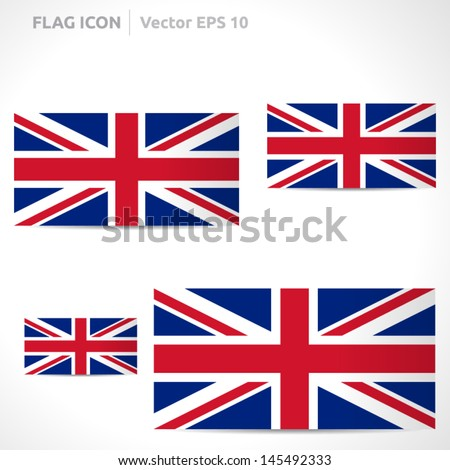 United Kingdom flag template | vector symbol design | color blue, red and white | icon set - stock vector