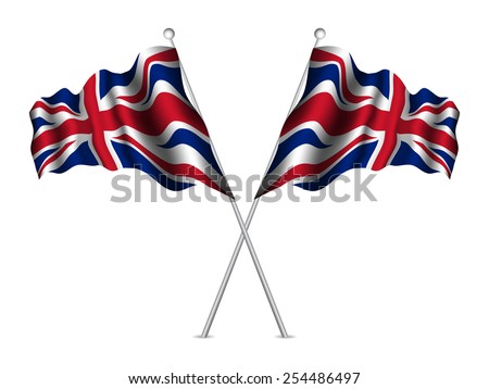 United Kingdom flags waving. Vector illustration. - stock vector