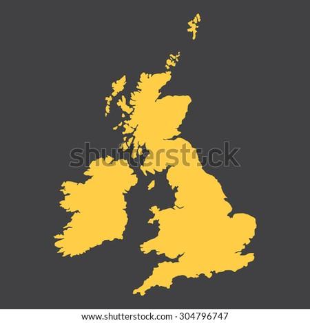United Kingdom,Great Britain border,map. - stock vector