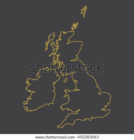 United Kingdom,Great Britain,GB,UK map,outline,stroke,line style - stock vector