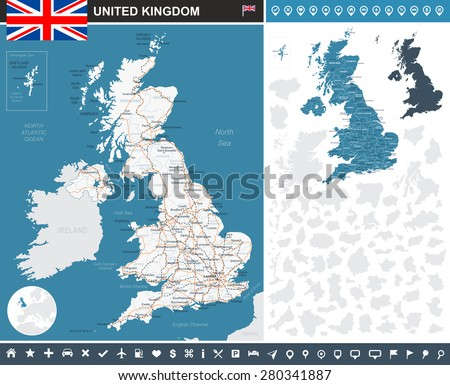 United Kingdom infographic map - illustration  Image contains: - land contours - country and land names - city names - water objects - flag - navigation icons - roads - railways - stock vector
