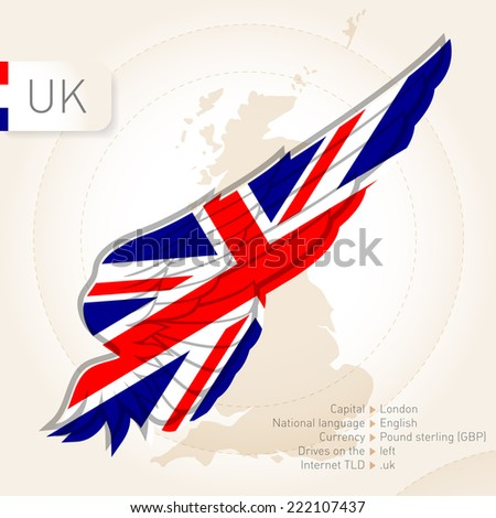 United Kingdom infographics with flag, map and information. Vector illustration - stock vector