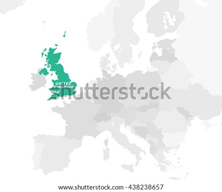 United Kingdom location modern detailed map. All european countries without names. Vector template of beautiful flat grayscale map design with selected country name text and border location - stock vector