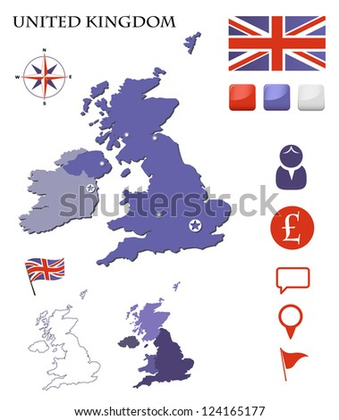 United Kingdom map and icons set - stock vector