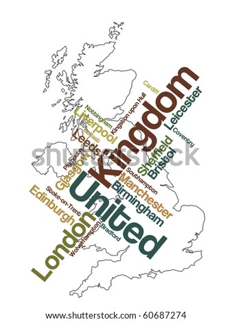 United Kingdom map and words cloud with larger cities - stock vector