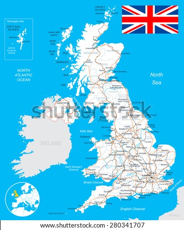 United Kingdom map, flag, roads - illustration   Image contains next layers: - land contours - country and land names - city names - water object names - flag - roads - railways  - stock vector