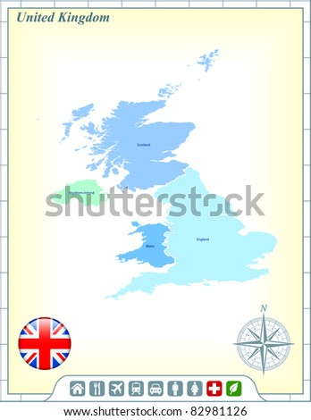 United Kingdom Map with Flag Buttons and Assistance & Activates Icons Original Illustration - stock vector