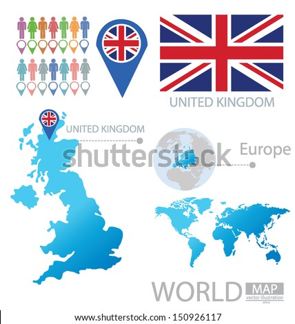 United Kingdom of Great Britain and Northern Ireland. flag. World Map. vector Illustration. - stock vector