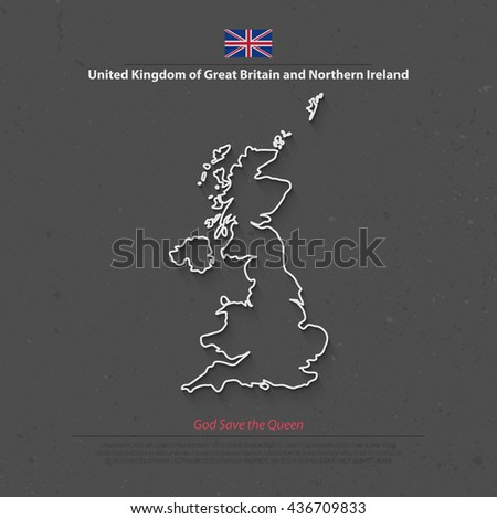 United Kingdom of Great Britain and Northern Ireland map and official flag icons. vector British political map thin line icon. EU geographic banner template. business concept maps - stock vector