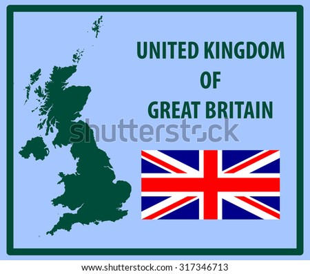United Kingdom of Great Britain - flag and map - stock vector
