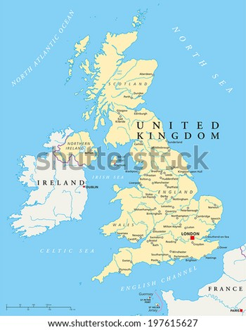 United Kingdom Political Map with capital London, national borders, most important cities, rivers and lakes. Vector illustration with English labeling and scaling. - stock vector