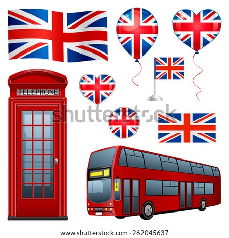 United Kingdom set: flags, icons, telephone, bus and balloons. - stock vector