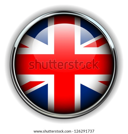United Kingdom; UK flag button - stock vector