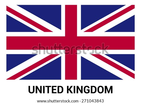 United Kingdom UK Great Britain flag isolated vector in official colors and Proportion Correctly. country's name label in bottom - stock vector