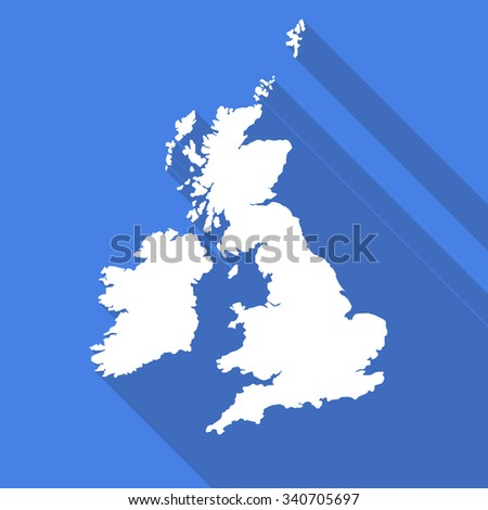 United Kingdom,UK,Great Britain white map,border flat simple style with long shadow on blue background - stock vector