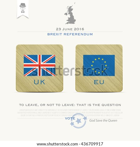 United Kingdom withdrawal from the European Union banner template. vector EU and British flags icons over paper texture. public referendum announcement and political crisis concept. vector UK map - stock vector
