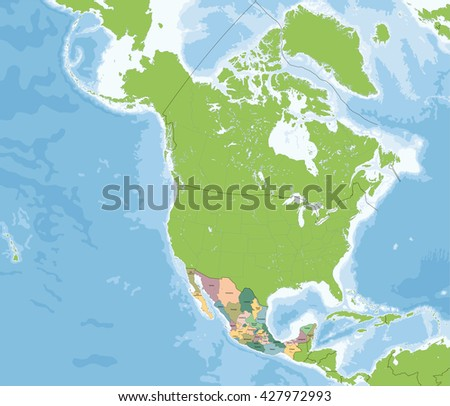 United Mexican States map - stock vector