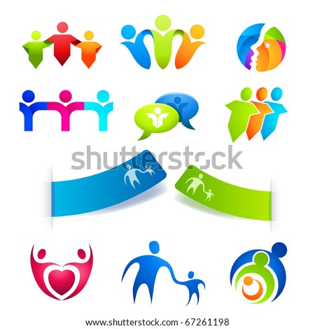 United People Symbols, stickers and  icons. Vector illustrations. - stock vector