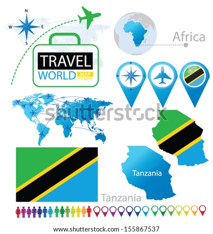 United Republic of Tanzania. flag. World Map. Travel vector Illustration. - stock vector
