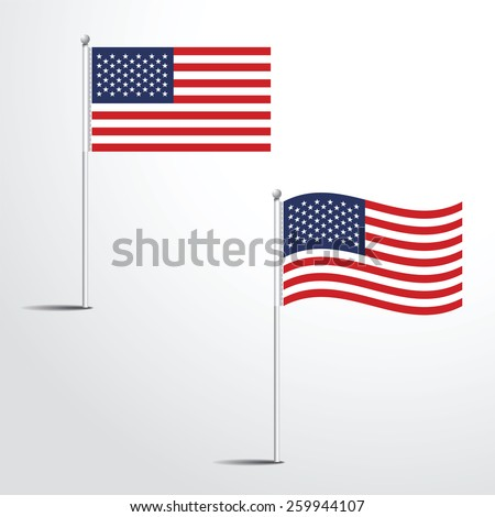 United state of America flag normal and waving flag set | Usa abstract flag vector eps 10 - stock vector