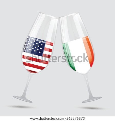 United state of America USA and Italy friendship flag wine glass vector illustration - stock vector