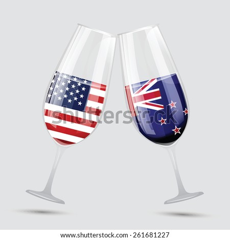 United state of America USA and New Zealand  friendship glass vector illustration  - stock vector