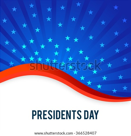 United State of American flag color waves with stars for Presidents Day celebrations. - stock vector
