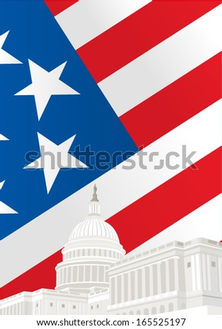 United States Capitol Building in Washington DC in front of American flag  - stock vector