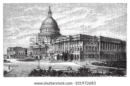 United States Capitol in Washington DC / vintage illustration from Brockhaus Konversations-Lexikon 1908 - stock vector