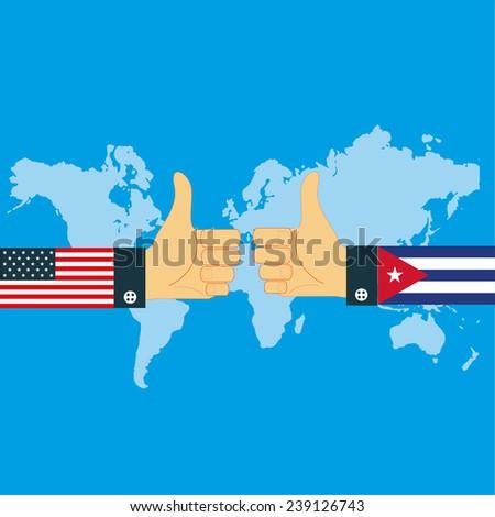United States Cuba relations flat design   - stock vector