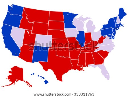 United States Electoral Map - Vector Illustration of United States map with projected electoral states.  Each of the states are grouped into separate, stroked shapes which can be easily edited. - stock vector