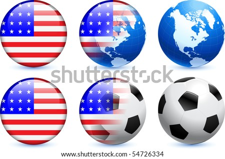 United States Flag Button with Global Soccer Event Original Illustration - stock vector