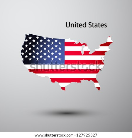 United States flag on map of country - stock vector